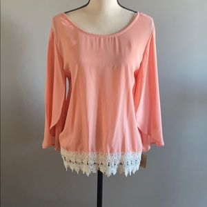 Peach Blouse with Lace Bottom